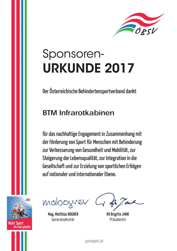BTM Infrarotkabinen - Urkunde-2017